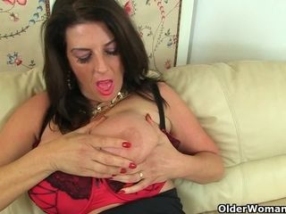 English cougar Camilla internal ejaculation faux-cocks her smooth-shaven fanny