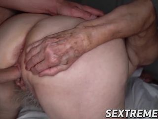 Big-chested elderly Norma deep throats meatpipe before foray