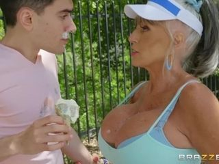 60 y.o. Lewd huge-titted grandma is doing it with a youthfull stud. Dayum!