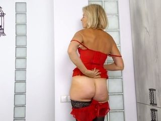 Elderly doll in cool crimson underwear Diana Gelderly is frolicking her fur covecrimson vag