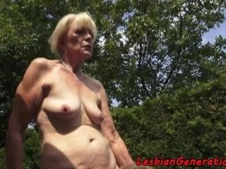 Teens pleasuring mature ladies outdoors