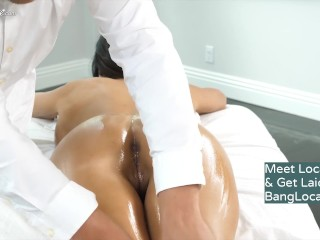 Cougar Veronica Rayne gets a sensuous rubdown having hook-up & getting facialled