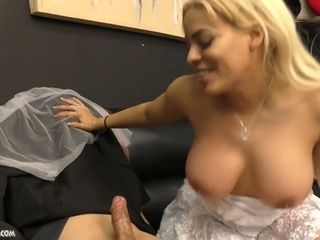 Cuban bride Luna starlet gives a suck off and tugjob to her enslaved groom