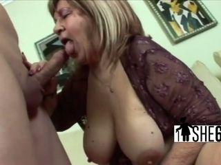 Super-naughty stud fucked huge-boobed grannie