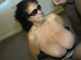 This unexperienced grandma slut takes popshots from a lot of guys