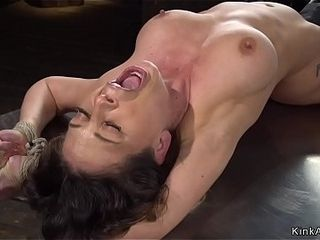 Clean-shaved cootchie cougar takes machine in domination & submission