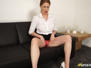 Edible cougar queen Paris unclothes her crimson undies and demonstrates yummy cunny upskirt