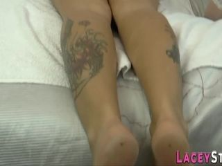 Gran kneads and greases up huge-chested girly-girl