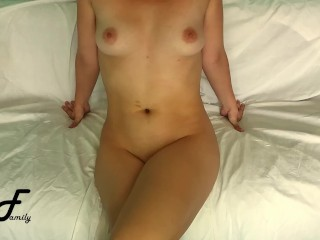 Forearms free-for-all ejaculation, crossed gams onanism sitting on bed ~DirtyFamily~