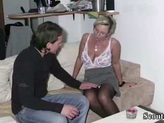 German cougar Made screw 18yr aged dude and let him jizm two times
