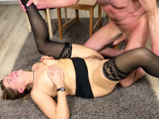 GERMAN furry cougar ANS stocking boned AND facial cumshot BY junior