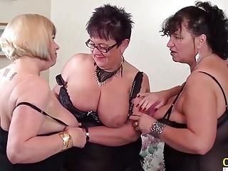 OldNanny huge-boobed ultra-kinky lesbos in threeway