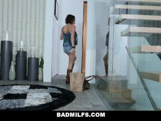 BadMILFS - Hot stripling Seduced overwrought GF with an increment of Stepmom