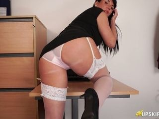 Grubby assistant Shelly displays her milky underpants upskirt