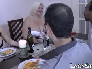 British GILF shares massive fat pink cigar with her swinger homie