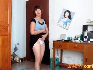 Asian aged damsel dancing