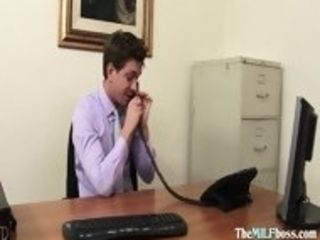 Magnificent blond cougar chief needs some work done at the office