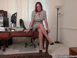 Office cougar Blake from the US faux-cocks her bangable cooch