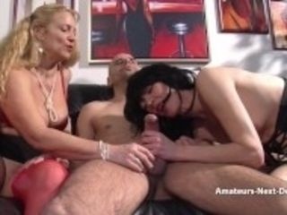 """Amateur duo have a threeway with mature helper"""