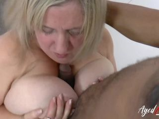 AgedLovE huge-boobed light-haired Mature bi-racial blow-job